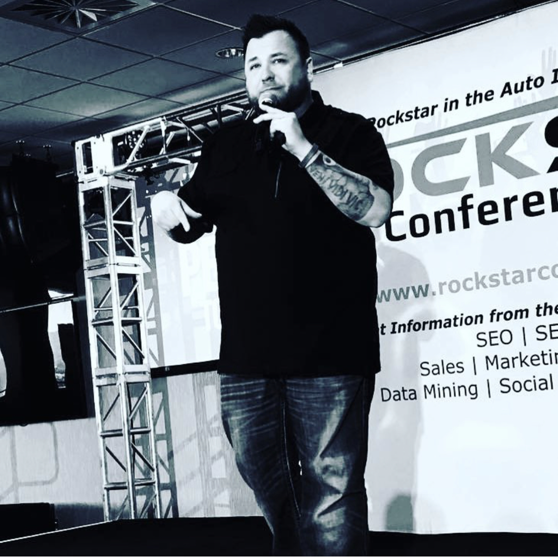 Mat speaking on the Rockstar Stage