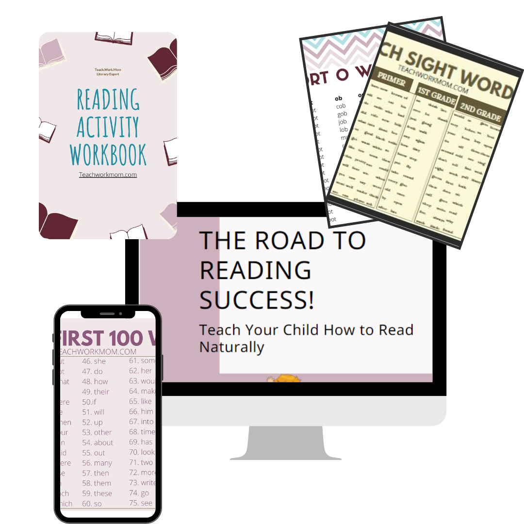 Desktop computer, iphone and two pages showing the bonuses of the road to reading success online course